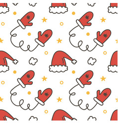 Seamless pattern with mittens and santa hats vector image vector image
