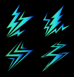 set of blue signs of electricity vector image vector image