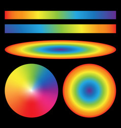 Set of rainbow gradients Radial Ellipse linear vector image