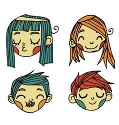 cartoon flat cute faces set icon stickers vector image vector image