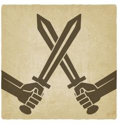 Crossed swords old background vector