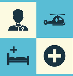 Medicine icons set collection of plus polyclinic vector