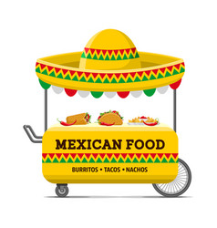 mexican food street cart colorful image vector image