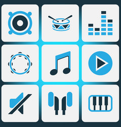 Music colored icons set collection of drum mixer vector