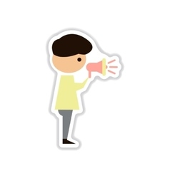 Paper sticker on white background man with vector