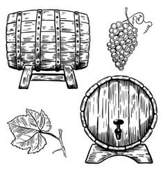 set of wooden wine barrels grape grape leaf vector image