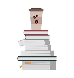 Stack of books with cup of coffee vector