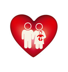 white background pictogram with heart and couple vector image vector image