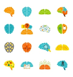 Brain icons flat vector image vector image