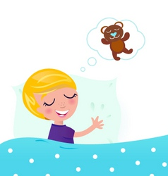 little boy dreaming about bear vector image vector image