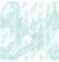 Pattern with abstract blue feathers vector image