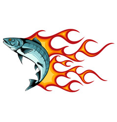 abstract burning fish design vector image
