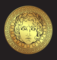 Antique style sun with face of the god apollo vector