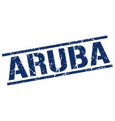 Aruba blue square stamp vector