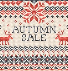 Autumn sale Scandinavian style seamless knitted vector