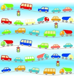 background with cartoon cars vector image
