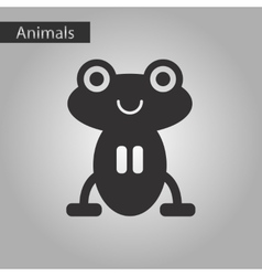 Black and white style icon frog cartoon vector
