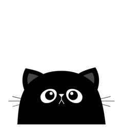black cat face head silhouette cute cartoon vector image