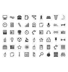Black icons collection for freelance and business vector image