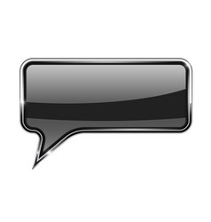 Black speech bubble rectangular 3d icon with vector