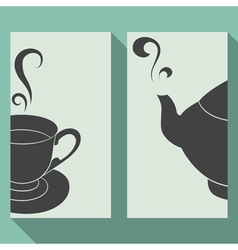 Business card set with silhouettes teapot and cup vector image
