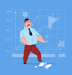 business man cry looking at tear paper with vector image