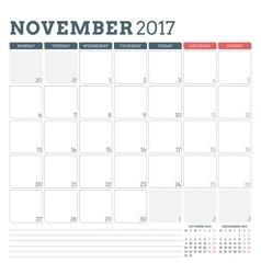 Calendar Planner Template for November 2017 Week vector image