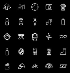 Camping necessary line icons on black background vector