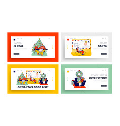 Characters write letter to santa claus landing vector