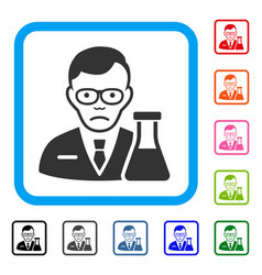 Chemist framed sadly icon vector