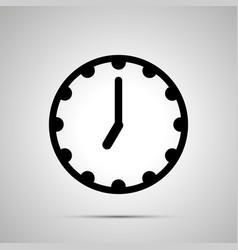Clock face showing 7-00 simple black icon on vector