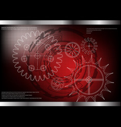 cogwheels on a red vector image