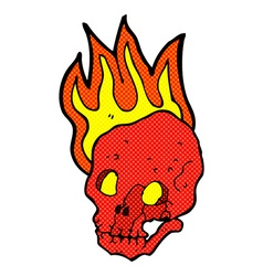 Comic cartoon flaming skull vector