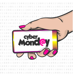 cyber monday woman hand pop art hold phone vector image