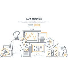 data analysis - modern line design style web vector image