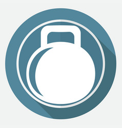 dumbbell icon on white circle with a long shadow vector image