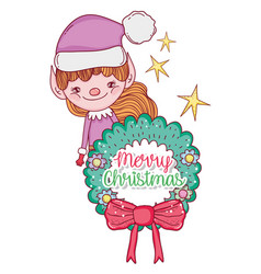 Elf with garland and ribbon bow to merry chritsmas vector
