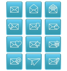Envelope icons for email on blue squares vector image