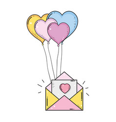 Envelope with balloons helium heart shape vector
