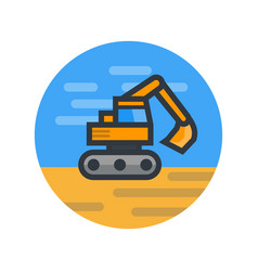 excavator in flat style vector image