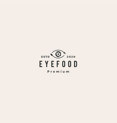 eye see food spoon fork logo icon hipster vintage vector image