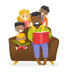 Father reading a book to multiethnic children vector