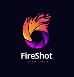 Fire shutter photography logo design vector