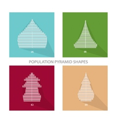Four different types of population pyramids graphs vector