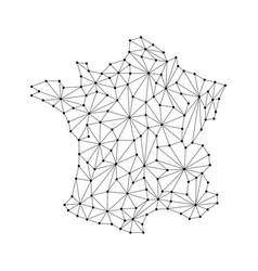 france map of polygonal mosaic lines rays vector image