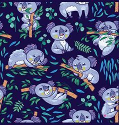 fun koalas in the eucalyptus seamless pattern vector image