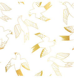 golden birds flying seamless pattern vector image