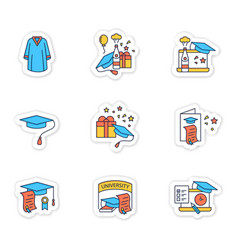 Graduation sticker icons set vector