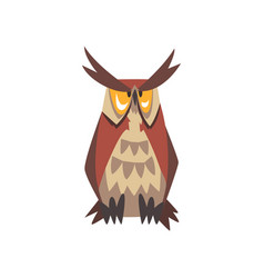 Great horned owl bird character eurasian eagle vector