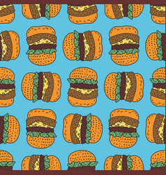 hamburger drawing pattern big burger cartoon vector image